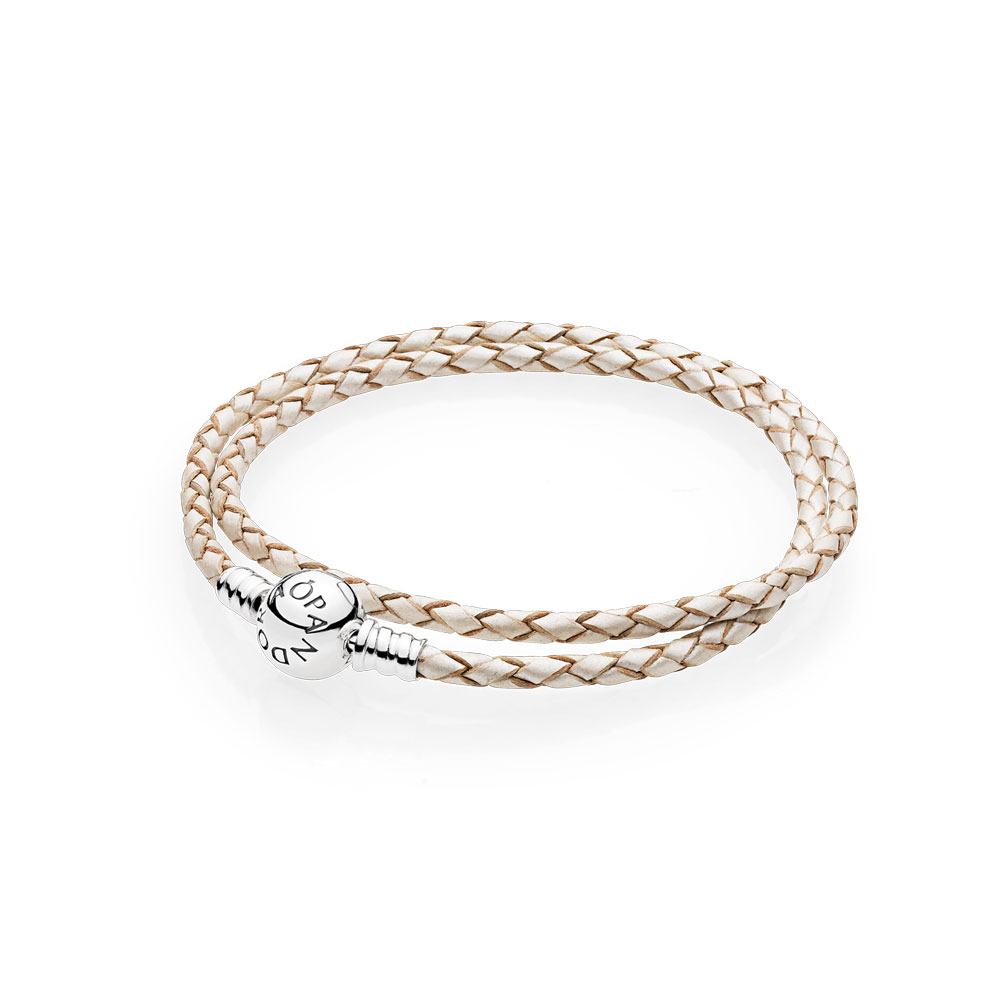 Champagne-Colored Braided Double-Leather Charm Bracelet