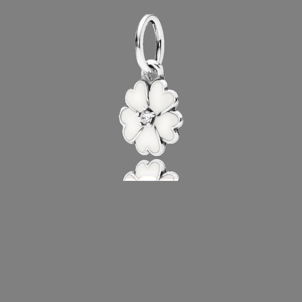 Primrose Pendant, White Enamel & Clear CZ