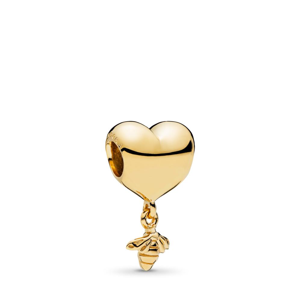 Heart & Bee Charm, PANDORA Shine™, 18ct gold-plated sterling silver - PANDORA - #767022