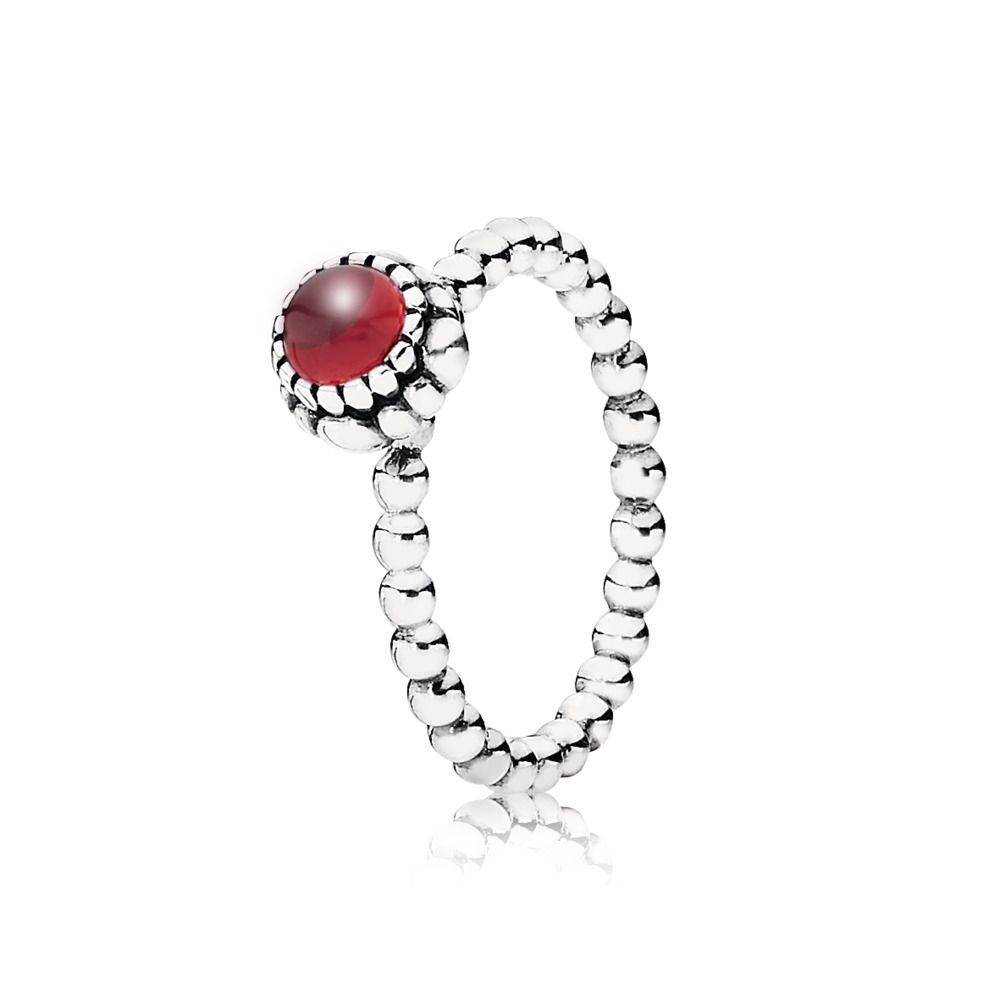 Silver ring, birthstone-January, garnet, Argent sterling, Aucun autre matériel, Rouge, Grenat - PANDORA - #190854GA