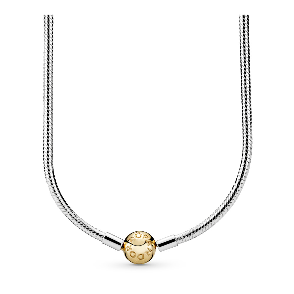 Silver Charm Necklace with 14K Gold Clasp, Two Tone - PANDORA - #590742HG