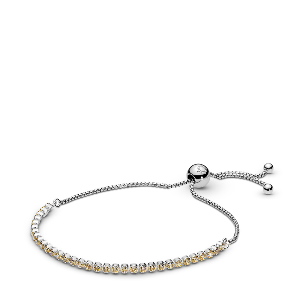 Golden Sparkling Strand Bracelet, Golden-Colored CZ, Sterling silver, Silicone, Yellow, Cubic Zirconia - PANDORA - #590524CCZ