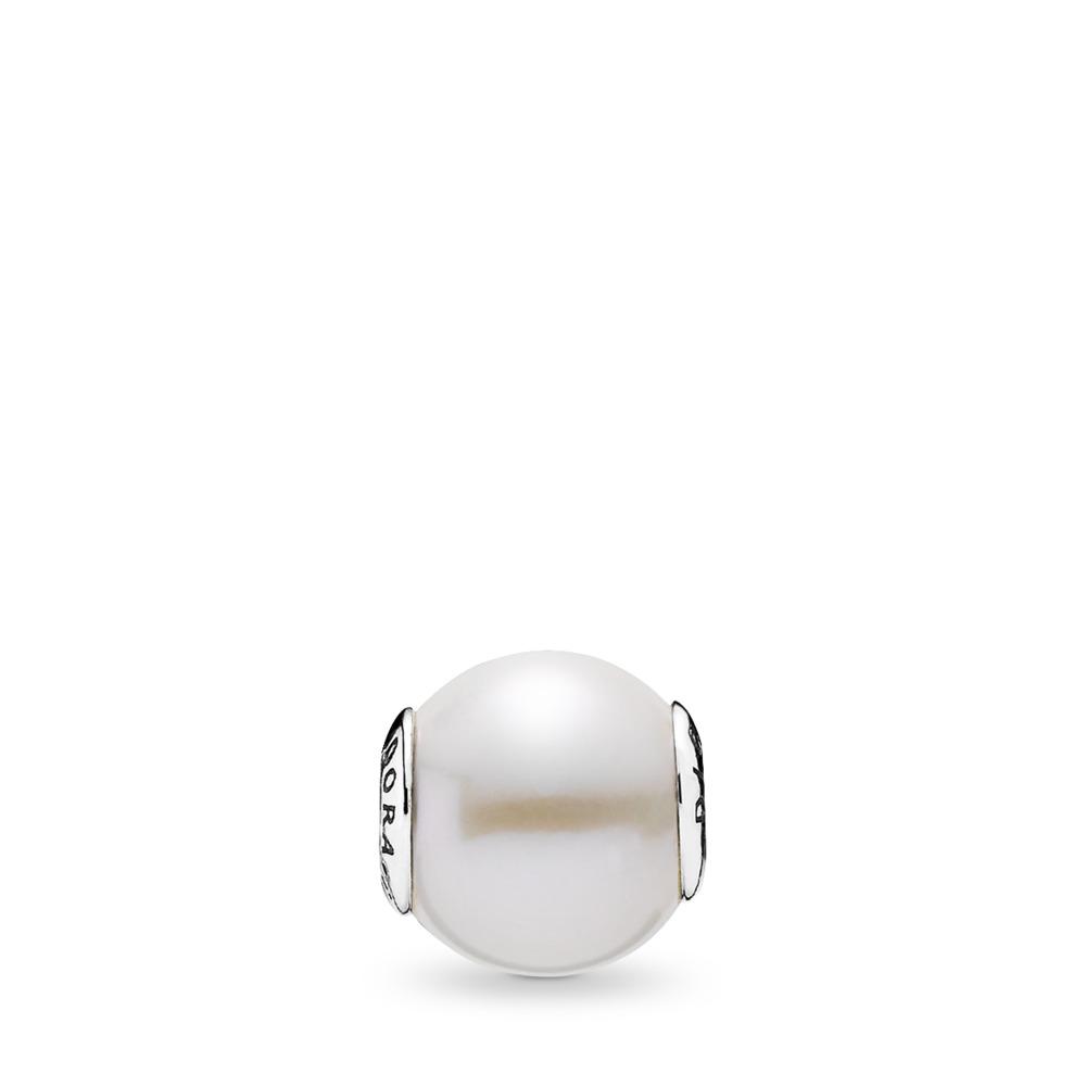 DIGNITÉ, perle blanche, Argent sterling, Silicone, Blanc, Perle de culture d'eau douce - PANDORA - #796068P