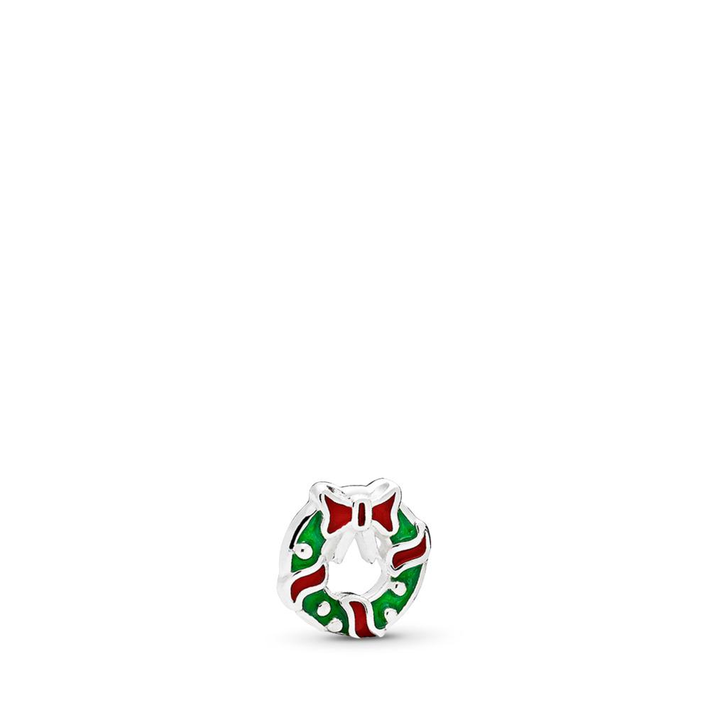 Holiday Wreath Petite Charm, Berry Red & Green Enamel, Sterling silver, Enamel, Green - PANDORA - #796397ENMX