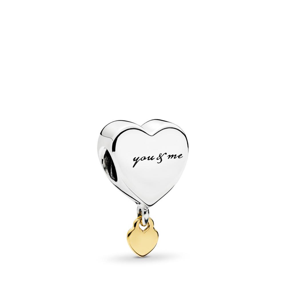 Two Hearts Dangle Charm, Two Tone - PANDORA - #796558