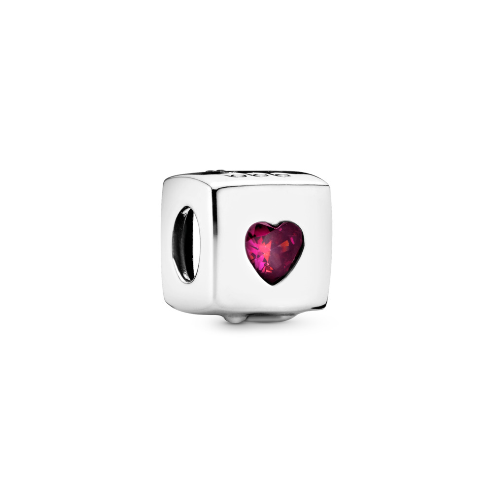 Love Dice Charm, Sterling silver, Cubic Zirconia - PANDORA - #797811CZR