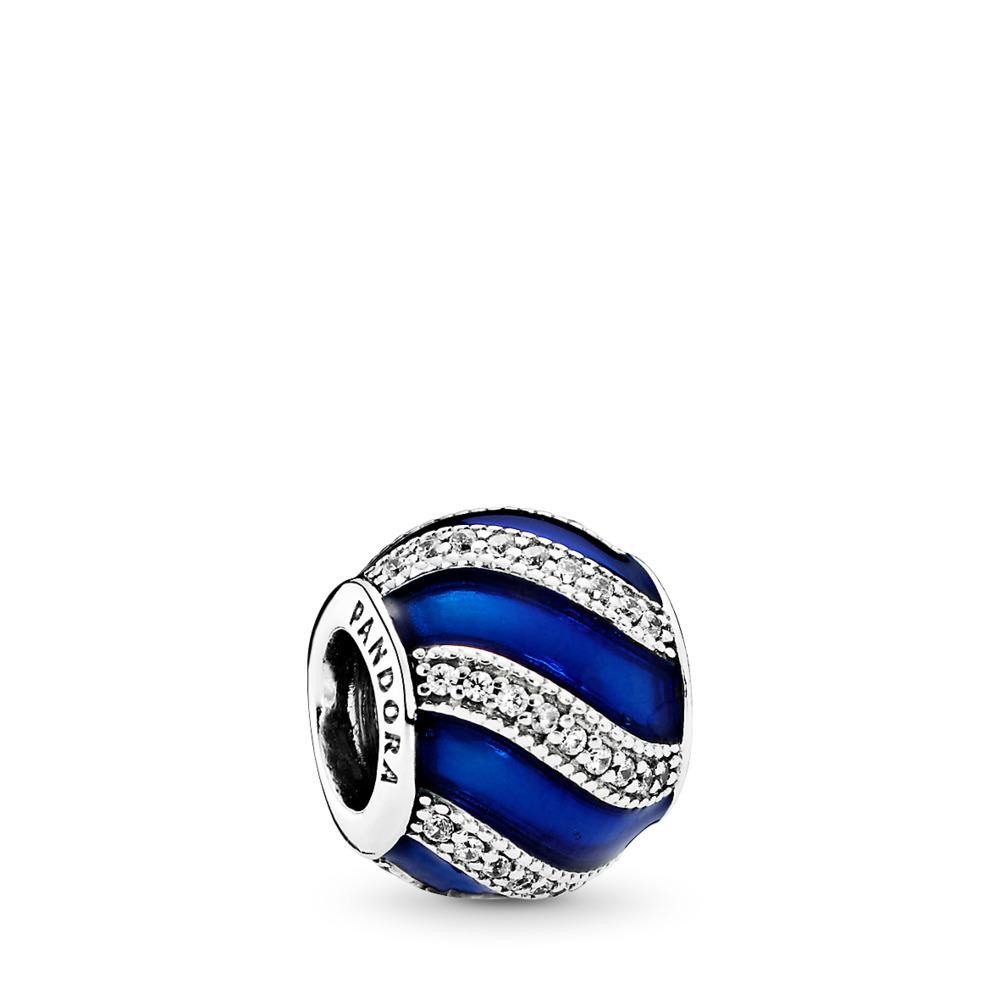 Adornment, Transparent Royal-Blue Enamel &  Clear CZ, Sterling silver, Enamel, Blue, Cubic Zirconia - PANDORA - #791991EN118