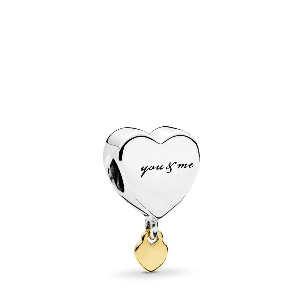 Charm pendentif Duo de cœurs, Deux Tons, Aucun autre matériel, Aucune couleur, Aucune pierre - PANDORA - #796558