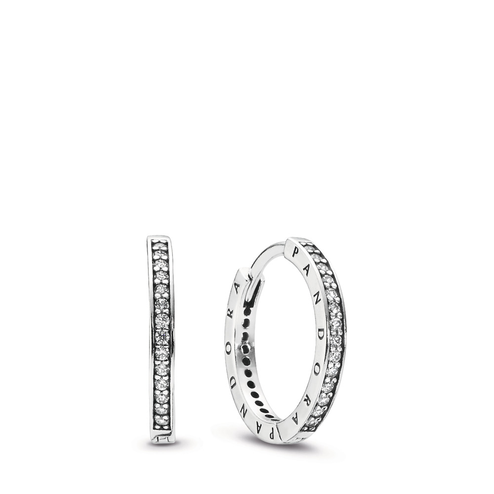 PANDORA Signature Earrings, Clear CZ, Sterling silver, Cubic Zirconia - PANDORA - #290558CZ
