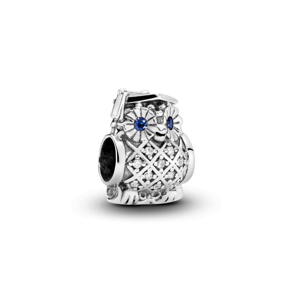Hibou de cérémonie, cristal bleu de Suisse et cz incolore, Argent sterling, Aucun autre matériel, Bleu, Pierres mélangées - PANDORA - #791502NSB