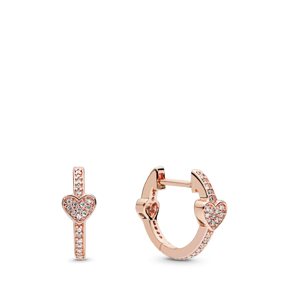 Alluring Hearts Hoop Earrings, PANDORA Rose™ & Clear CZ, PANDORA Rose, Cubic Zirconia - PANDORA - #287290CZ