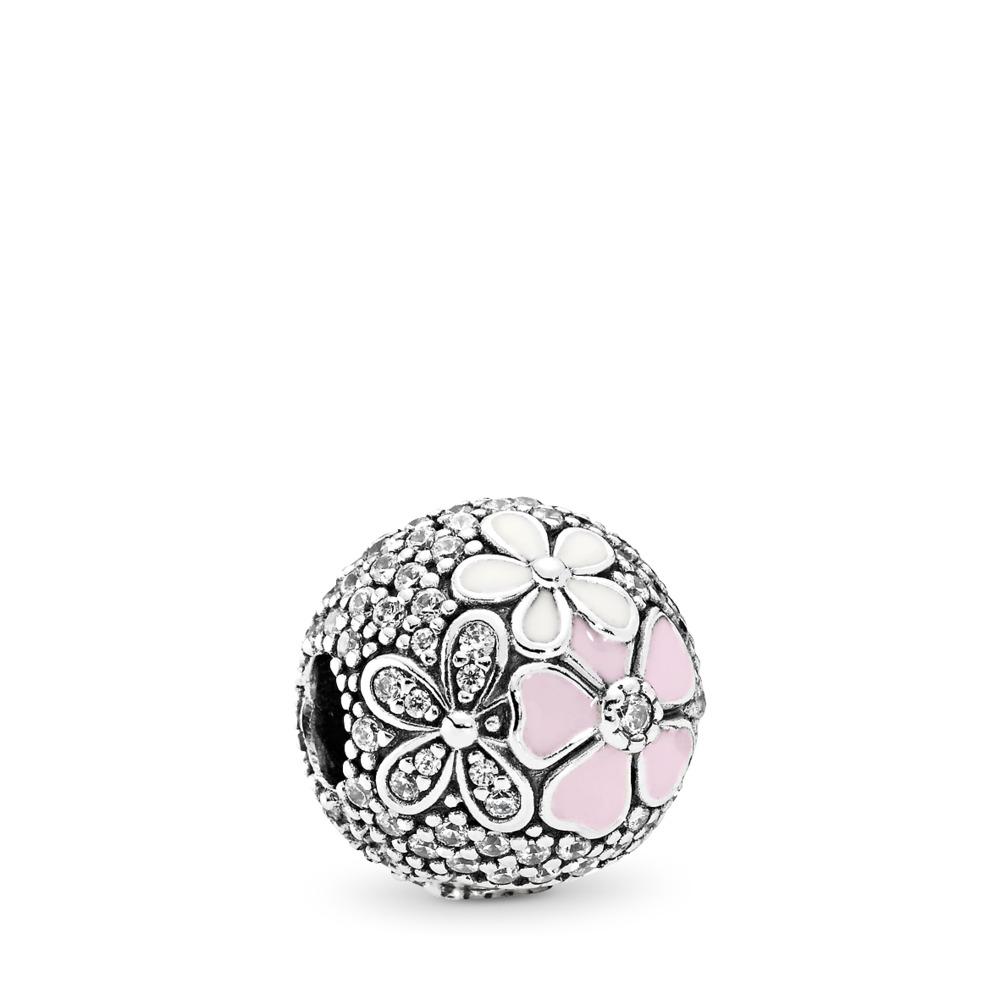 Poèmes en fleurs, émaux mixtes et cz incolore, Argent sterling, émail, Rose, Zircon cubique - PANDORA - #792084CZ