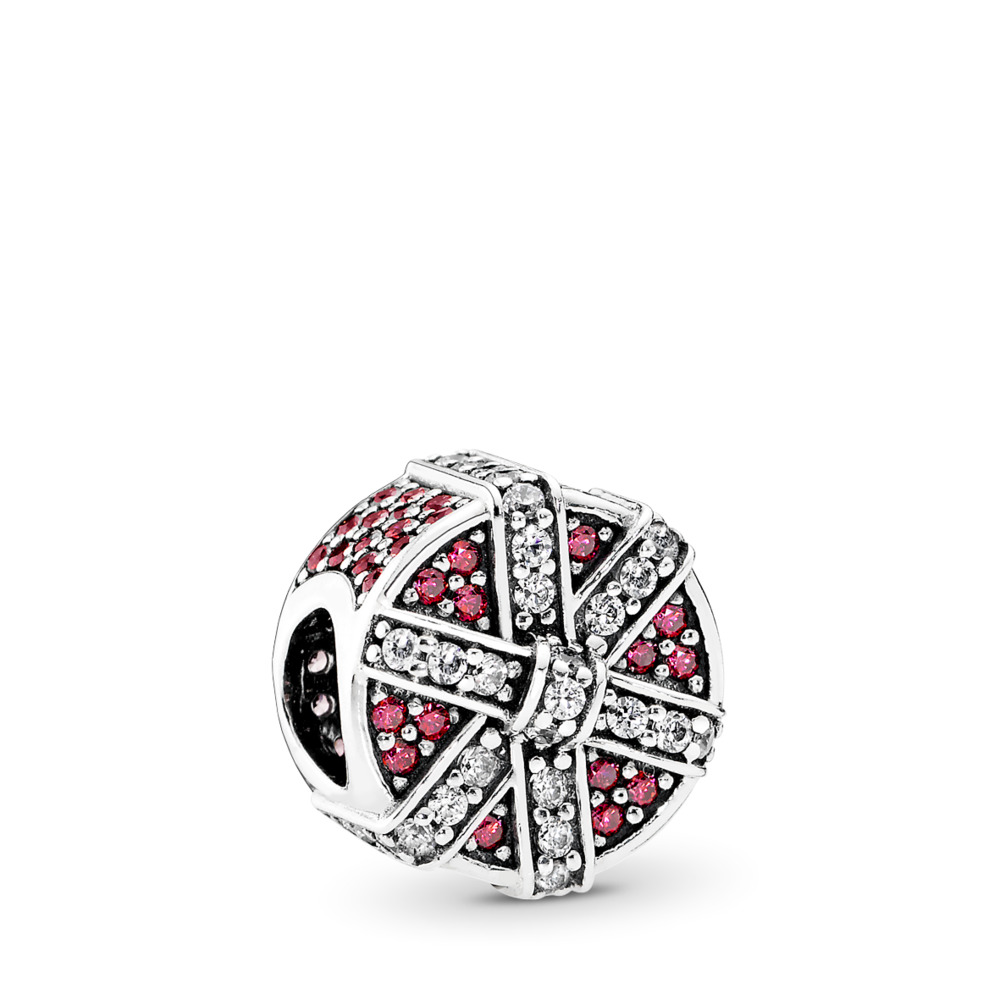Shimmering Gift, Red & Clear CZ, Sterling silver, Red, Cubic Zirconia - PANDORA - #792006CZR