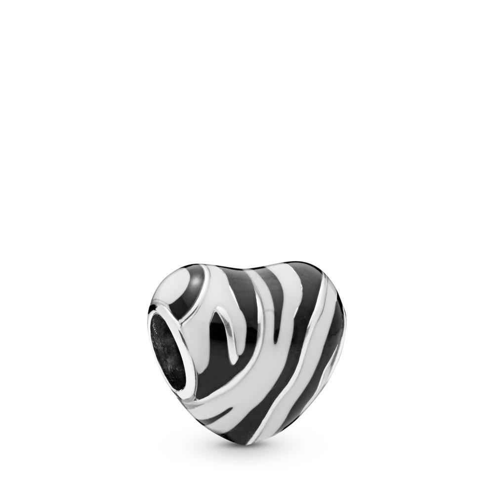Charm Coeur tigré, Argent sterling, émail, Aucune pierre - PANDORA - #798056ENMX
