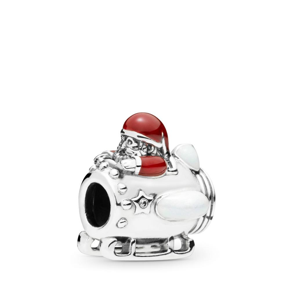 Charm Le Père Noël dans l'espace, Argent sterling, émail, Rouge, Zircon cubique - PANDORA - #797511ENMX