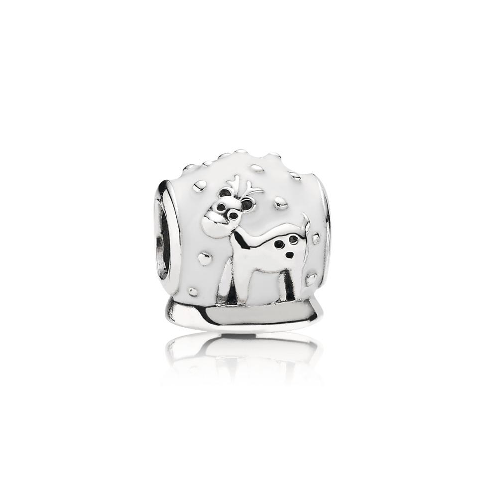 Snow Globe, White Enamel, Sterling silver, Enamel, White - PANDORA - #791228EN12
