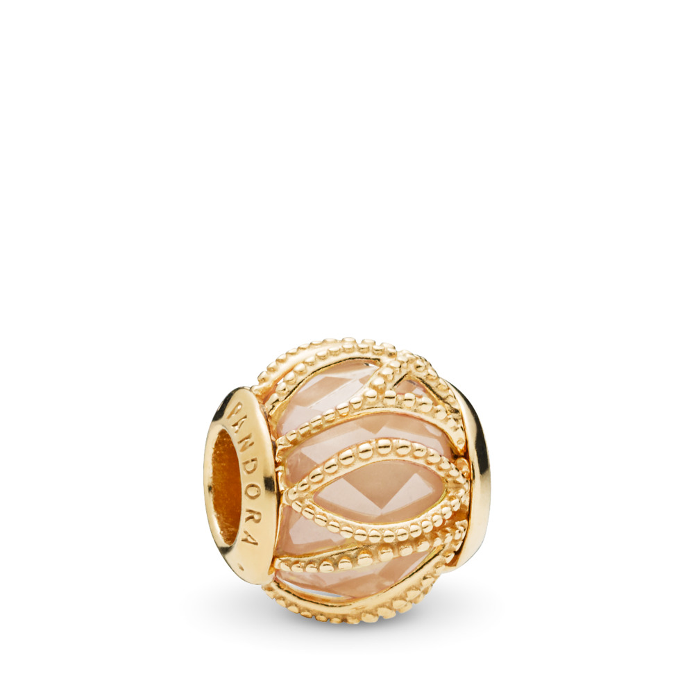 Intertwining Radiance Charm, PANDORA Shine™ & Golden coloured CZ, 18ct gold-plated sterling silver, Gold, Cubic Zirconia - PANDORA - #761968CCZ