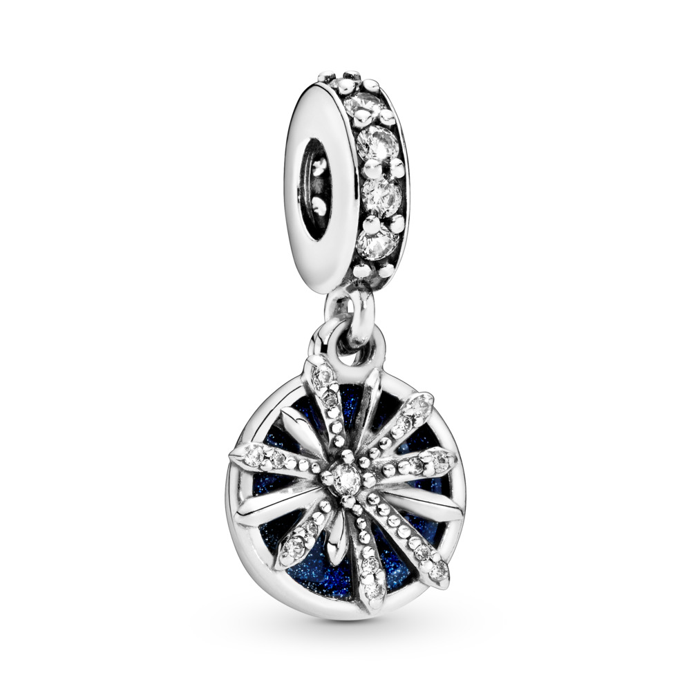 Dazzling Wishes Dangle Charm, Sterling silver, Enamel, Blue, Cubic Zirconia - PANDORA - #797531CZ