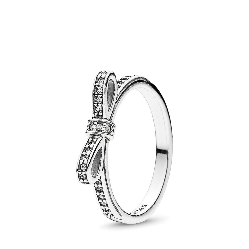 Sparkling Bow Stackable Ring, Clear CZ, Sterling silver, Cubic Zirconia - PANDORA - #190906CZ