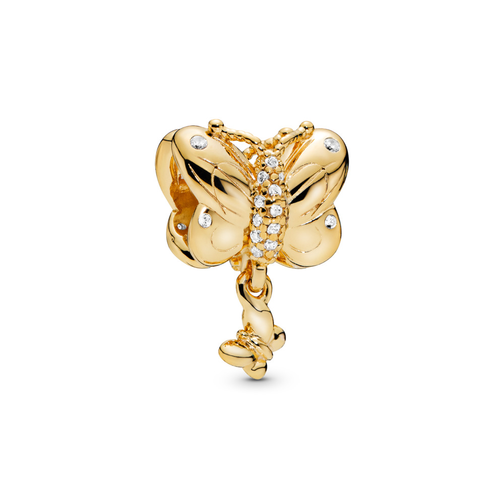 Decorative Butterfly Charm, 18ct gold-plated sterling silver, Cubic Zirconia - PANDORA - #767899CZ