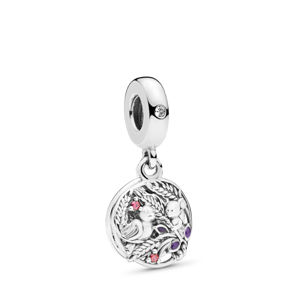 Always By Your Side Dangle Charm, Multi-coloured CZ & Purple Enamel, Sterling silver, Enamel, Purple, Cubic Zirconia - PANDORA - #797671CZRMX