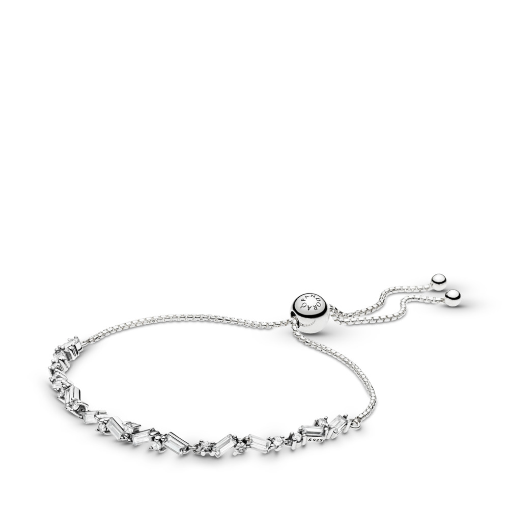 Glacial Beauty Sliding Bracelet, Sterling silver, Silicone, Cubic Zirconia - PANDORA - #597558CZ