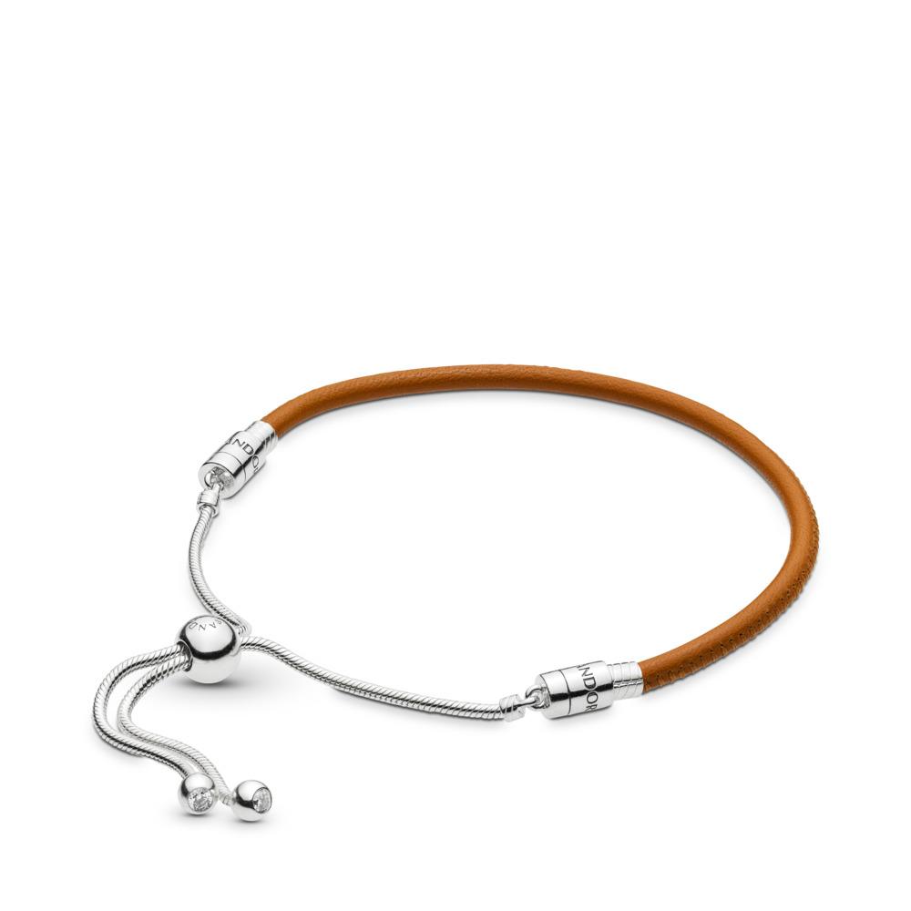 Bracelet à fermoir coulissant en cuir beige doré, cz incolore, Argent sterling, Cuir, Brun, Zircon cubique - PANDORA - #597225CGT