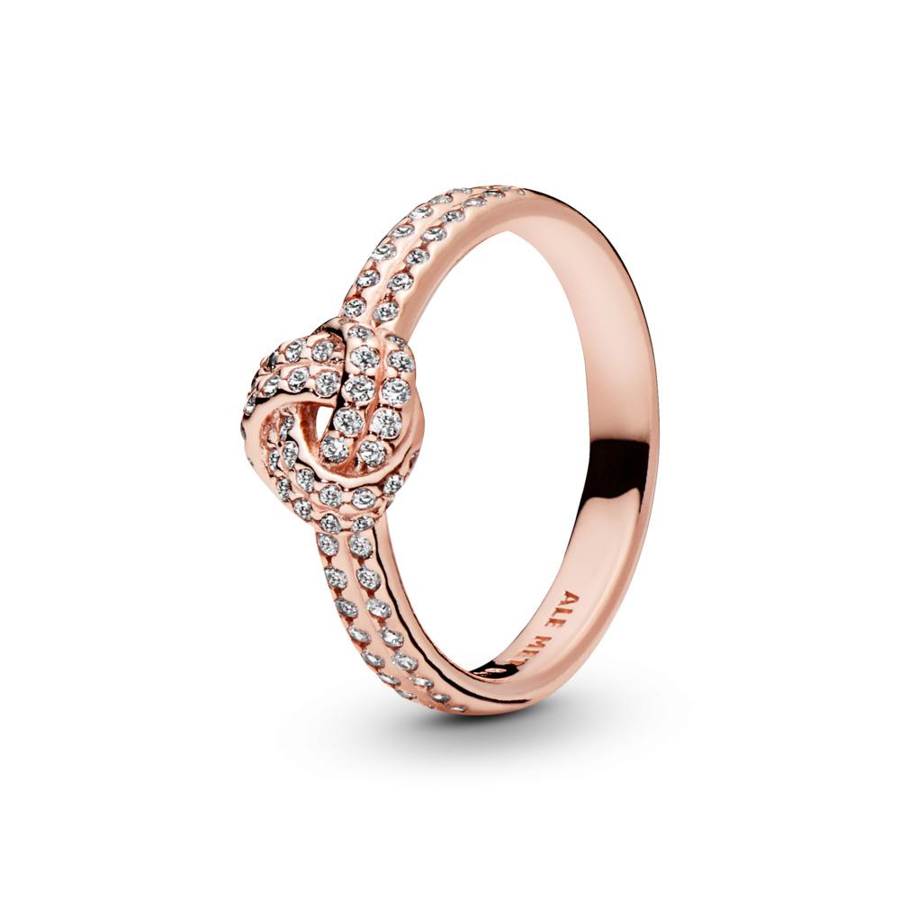 Sparkling Love Knot, PANDORA Rose™ & Clear CZ, PANDORA Rose, Cubic Zirconia - PANDORA - #180997CZ