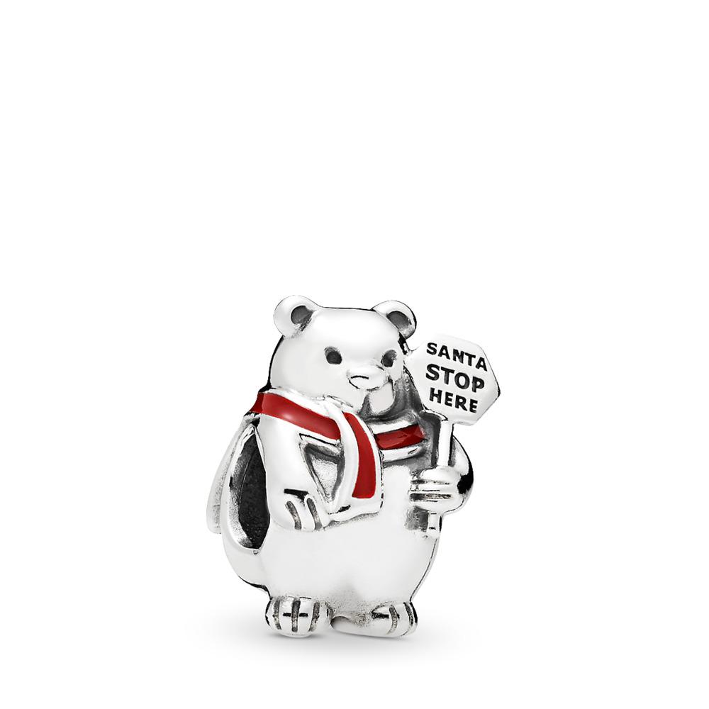 Christmas Polar Bear Charm, Berry Red Enamel, Sterling silver, Enamel, Red - PANDORA - #796466EN39