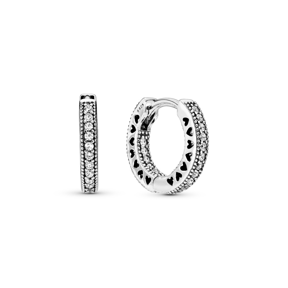 Hearts of PANDORA, Clear CZ 15mm, Sterling silver, Cubic Zirconia - PANDORA - #296317CZ