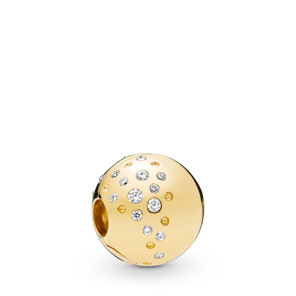 Scattered Sparkle Clip, 18ct gold-plated sterling silver, Cubic Zirconia - PANDORA - #767900CZ