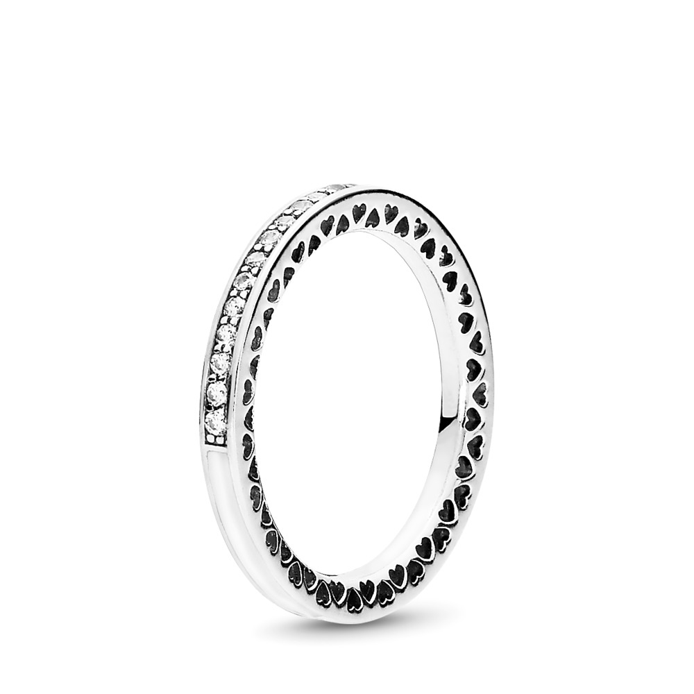 Radiant Hearts of PANDORA, Silver Enamel & Clear CZ, Sterling silver, Enamel, White, Cubic Zirconia - PANDORA - #191011CZ