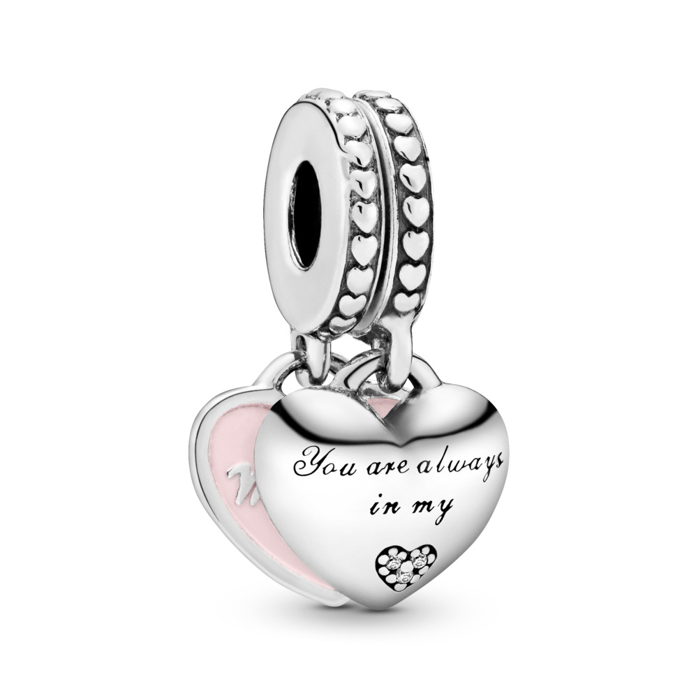 Mother & Daughter Hearts, Soft Pink Enamel & Clear CZ, Sterling silver, Enamel, Pink, Cubic Zirconia - PANDORA - #792072EN40