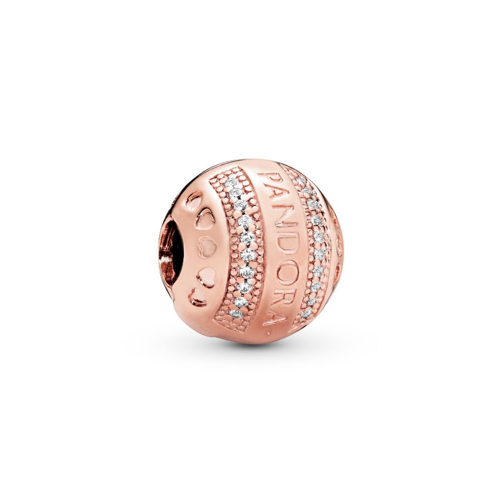 Clip Cœurs à logo PANDORA, PANDORA Rose et cz incolore, PANDORA ROSE, Silicone, Aucune couleur, Zircon cubique - PANDORA - #787433CZ