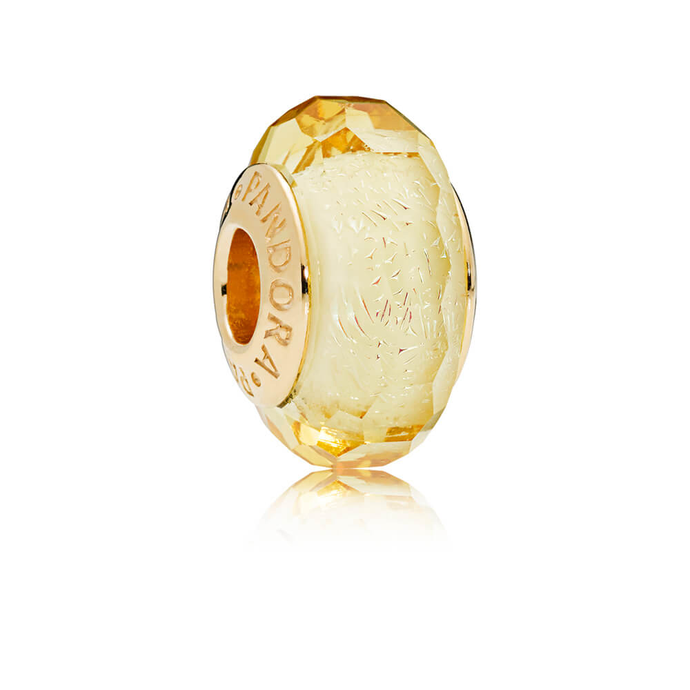 Golden Faceted Murano Glass Charm