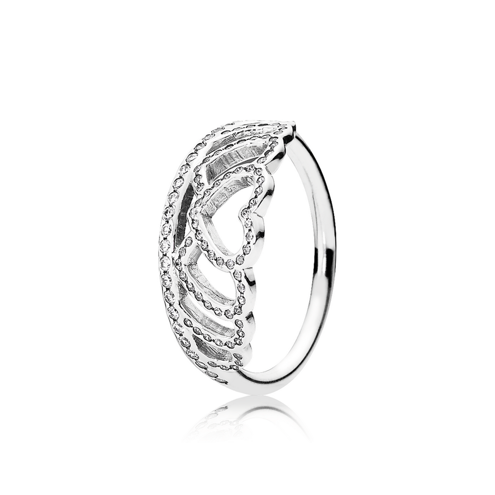 Hearts Tiara Ring, Clear CZ