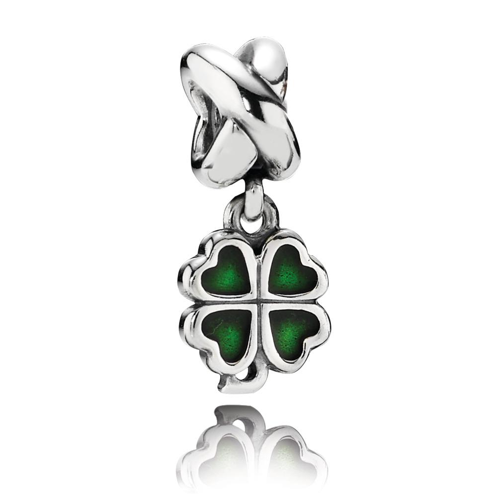Trèfle à quatre feuilles, émail vert, Argent sterling oxydé, émail, Vert, Aucune pierre - PANDORA - #790572EN25