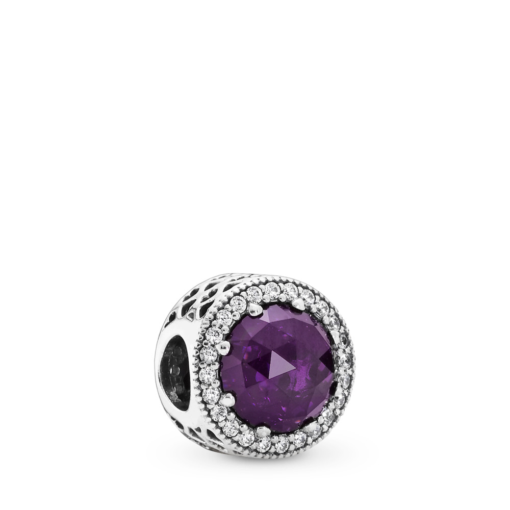 Radiant Hearts, Royal-Purple Crystal & Clear CZ, Sterling silver, Purple, Mixed stones - PANDORA - #791725NRP