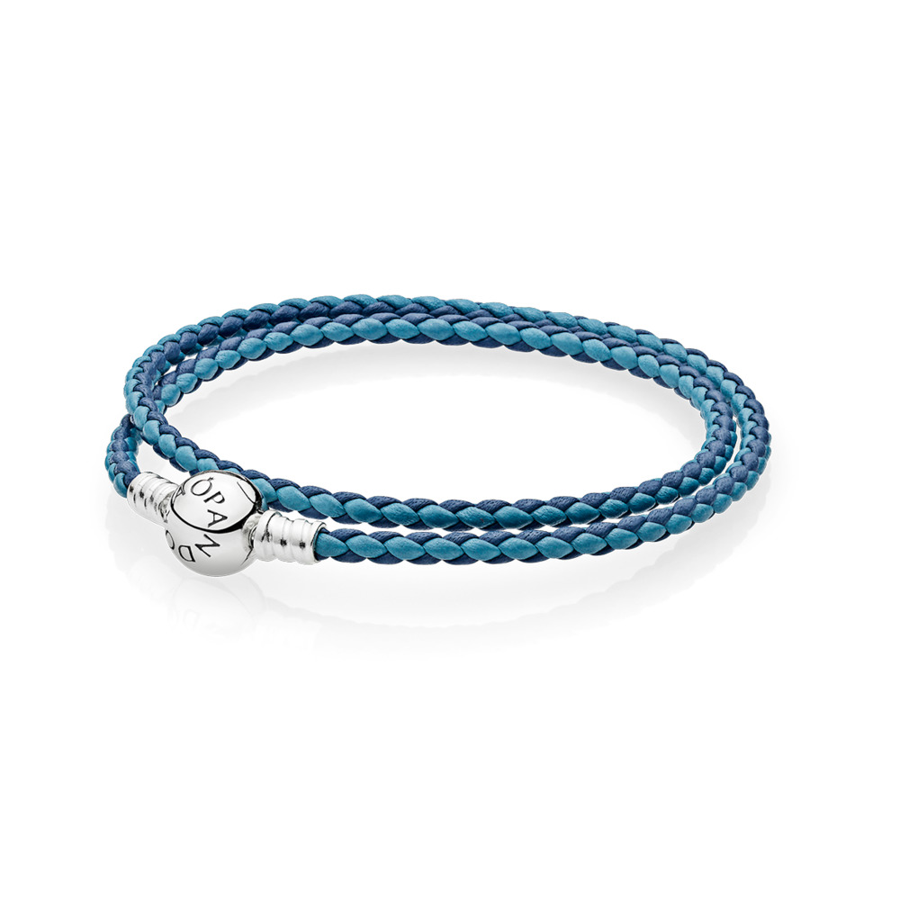 Mixed Blue Woven Double-Leather Charm Bracelet, Sterling silver, Leather, Blue - PANDORA - #590747CBMX-D
