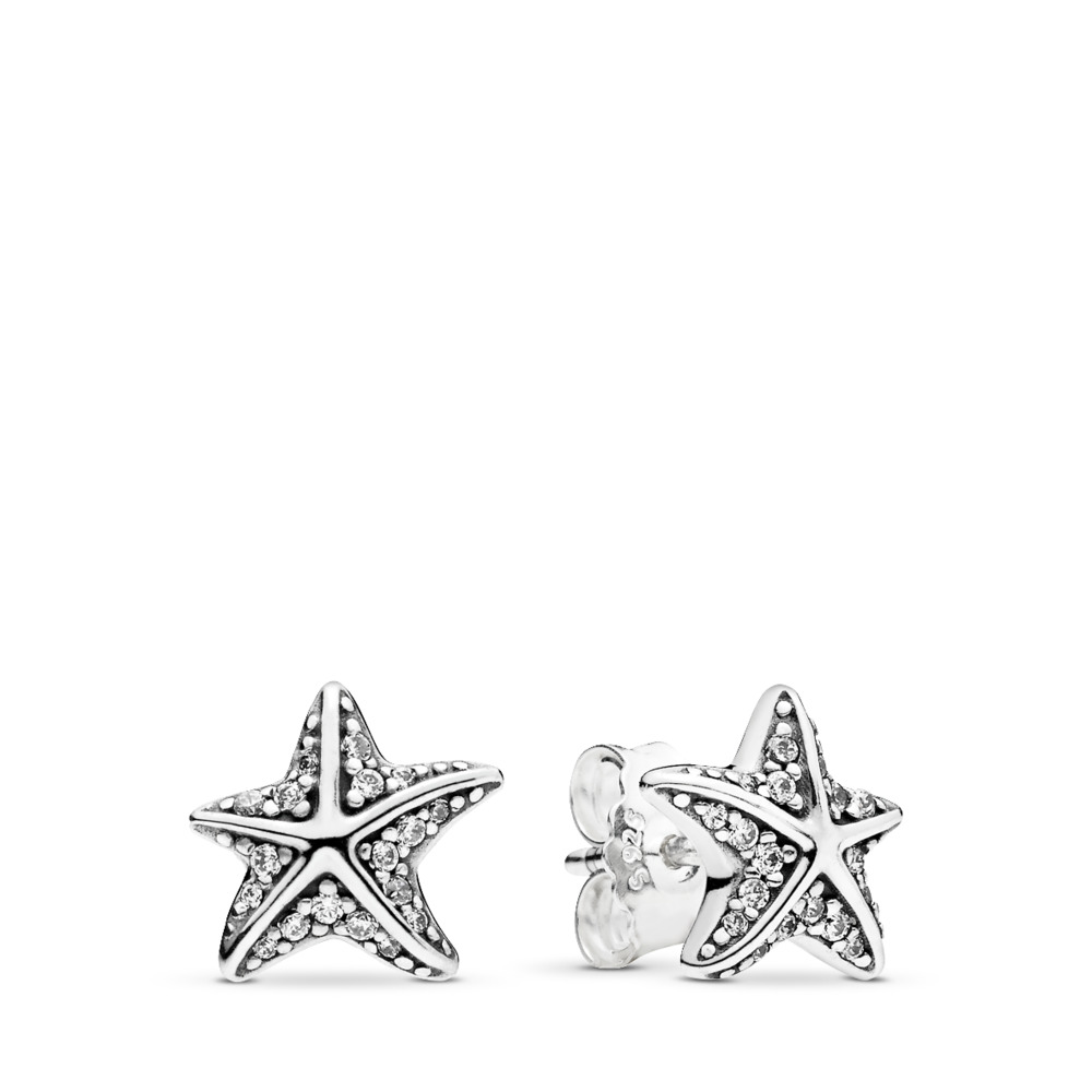 Tropical Starfish, Clear CZ, Sterling silver, Cubic Zirconia - PANDORA - #290748CZ