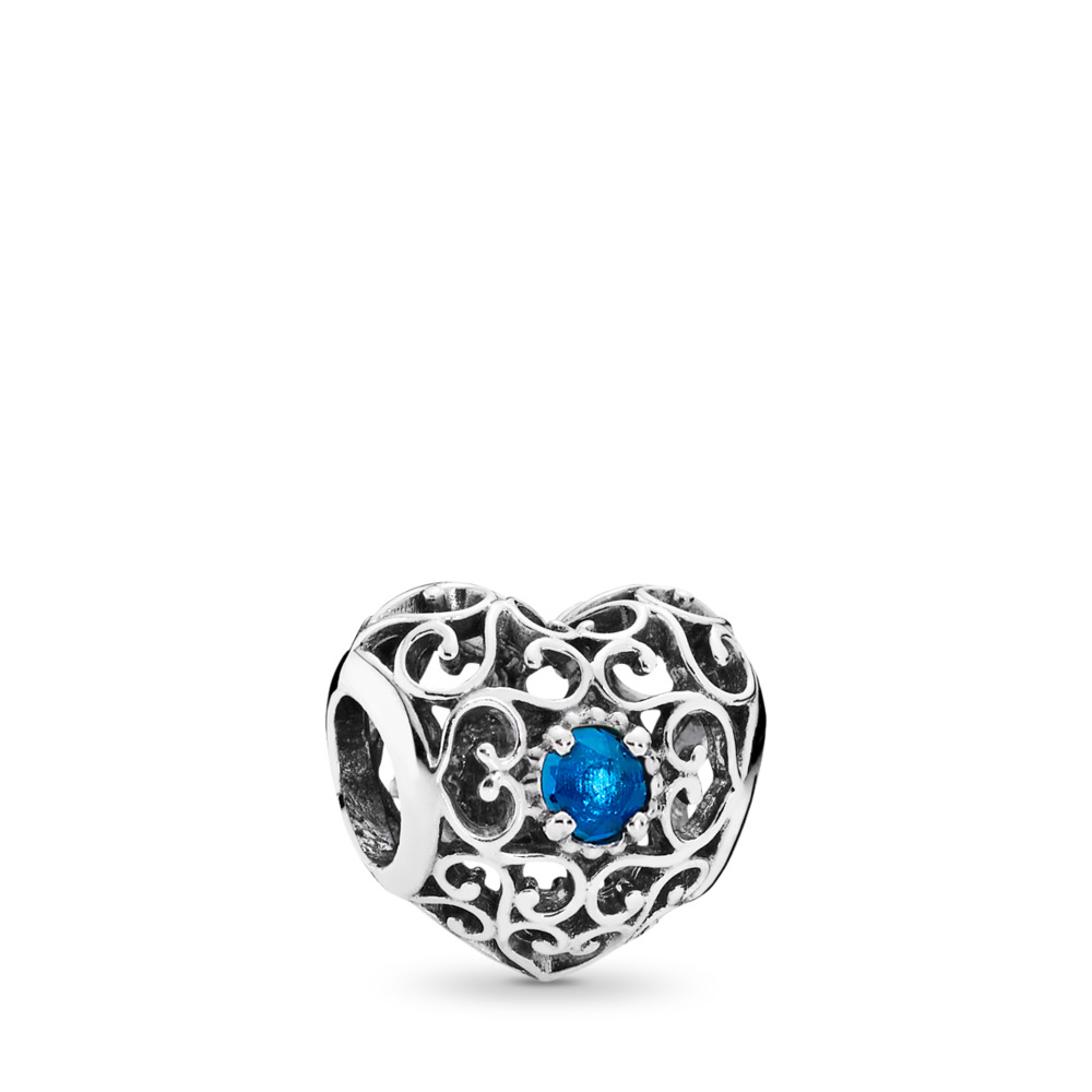 December Signature Heart, London Blue Crystal, Sterling silver, Blue, Crystal - PANDORA - #791784NLB