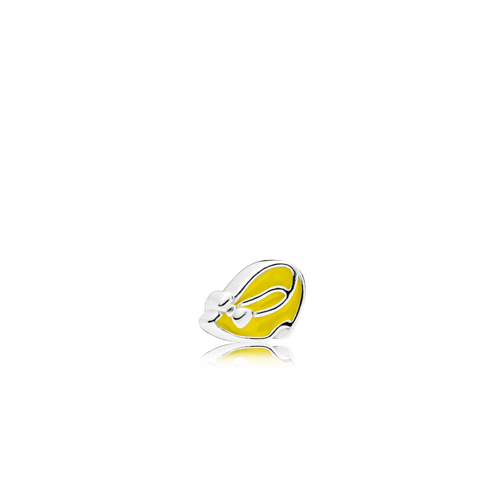 Disney, Minnie Shoe Petite Charm, Light Yellow Enamel