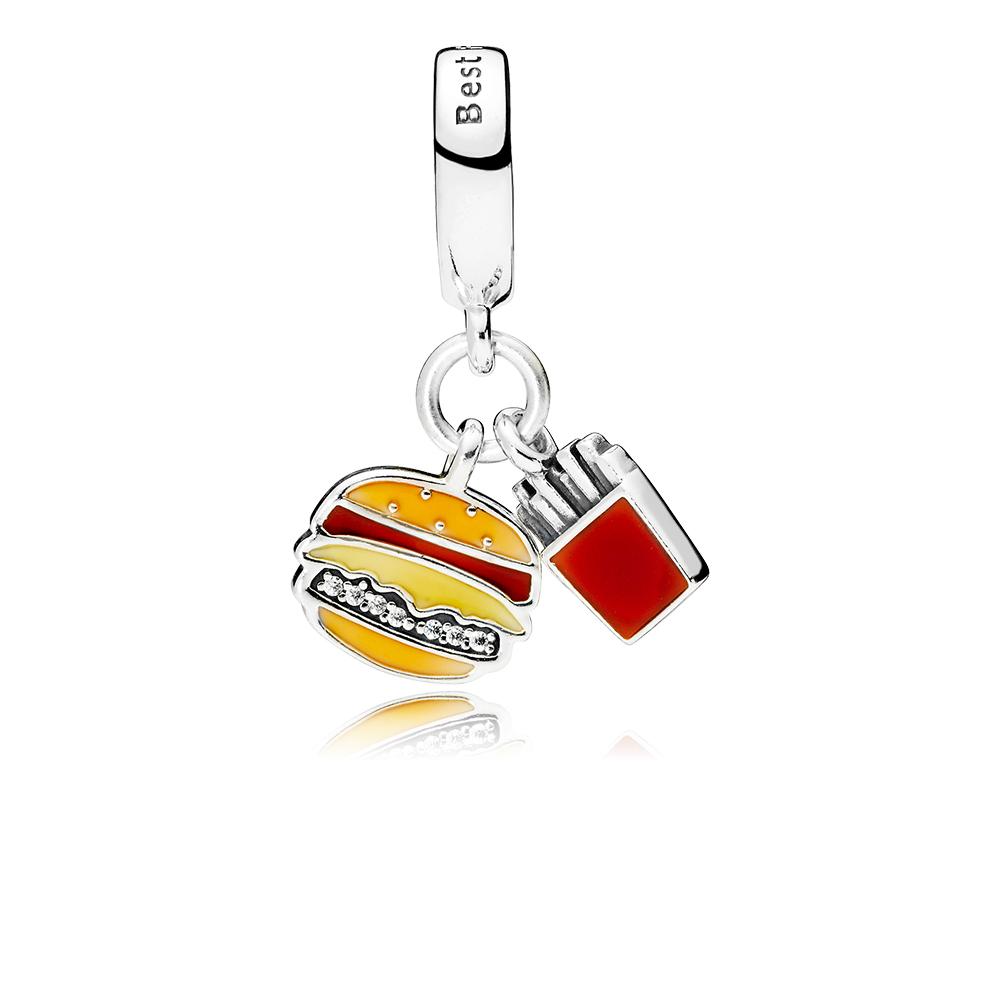 Charm pendentif Burger et frites, émail rouge, doré et jaune