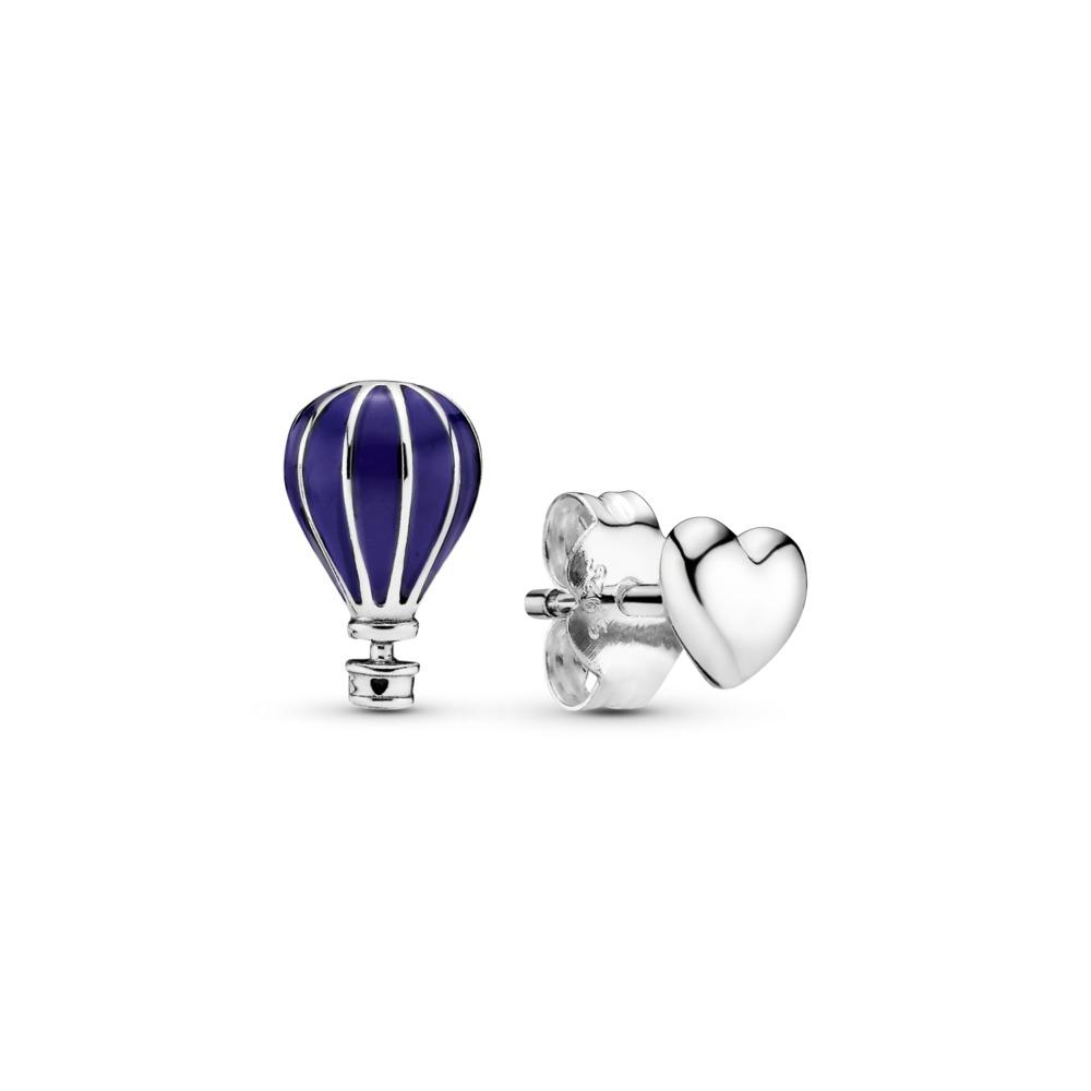 Hot Air Balloon & Heart Mismatched Stud Earrings, Sterling silver, Enamel, Blue - PANDORA - #298058EN195
