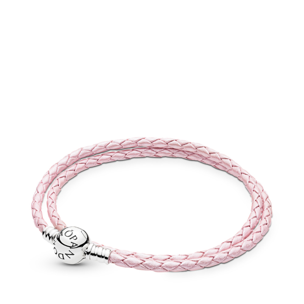 945475b0d Pink Braided Double-Leather Charm Bracelet