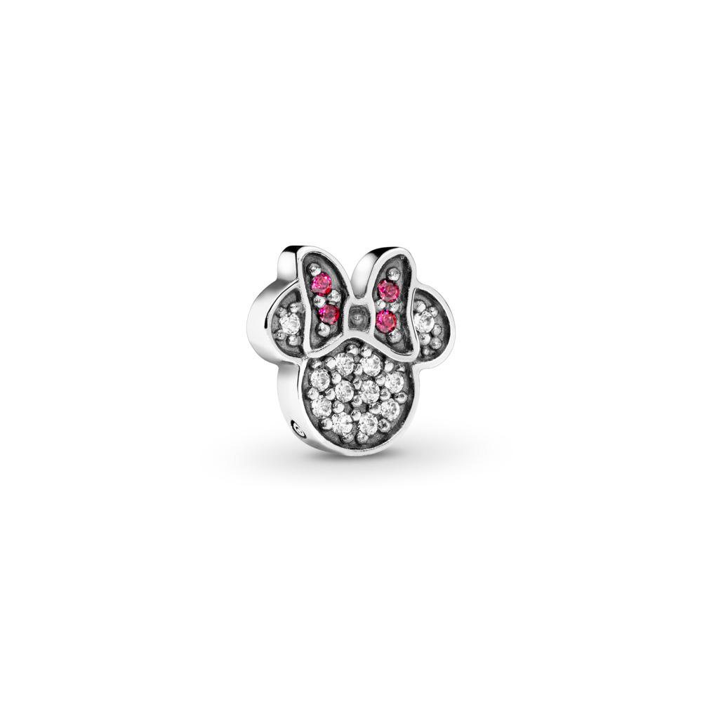 Mini Disney, Emblème brillant de Minnie, cz rouge et incolore, Argent sterling, Aucun autre matériel, Rouge, Zircon cubique - PANDORA - #796346CZ