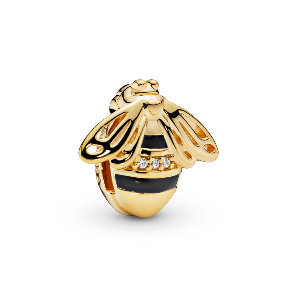 Pandora Reflexions™ Queen Bee Charm, 18ct gold-plated sterling silver, Enamel, Black, Cubic Zirconia - PANDORA - #767862EN16