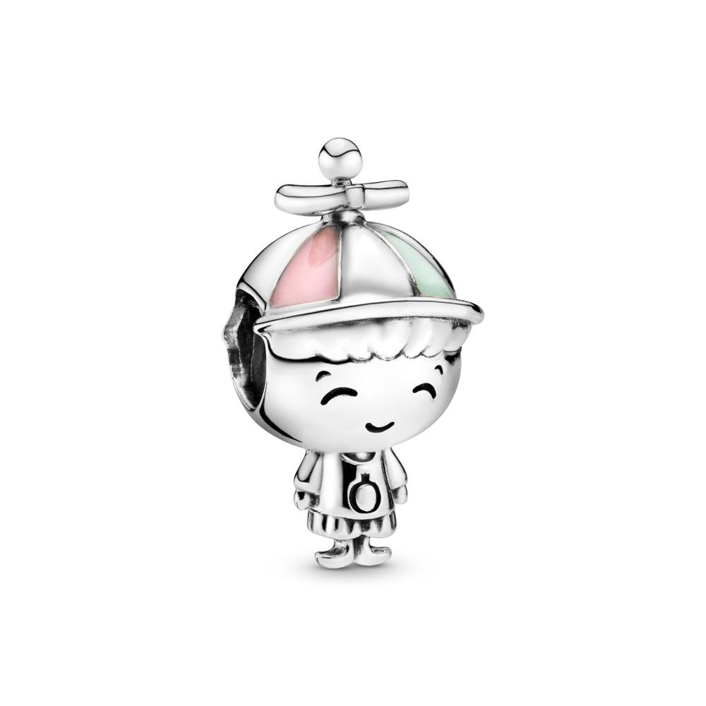 Boy Character Charm, Sterling silver, Enamel, Green - PANDORA - #798015ENMX