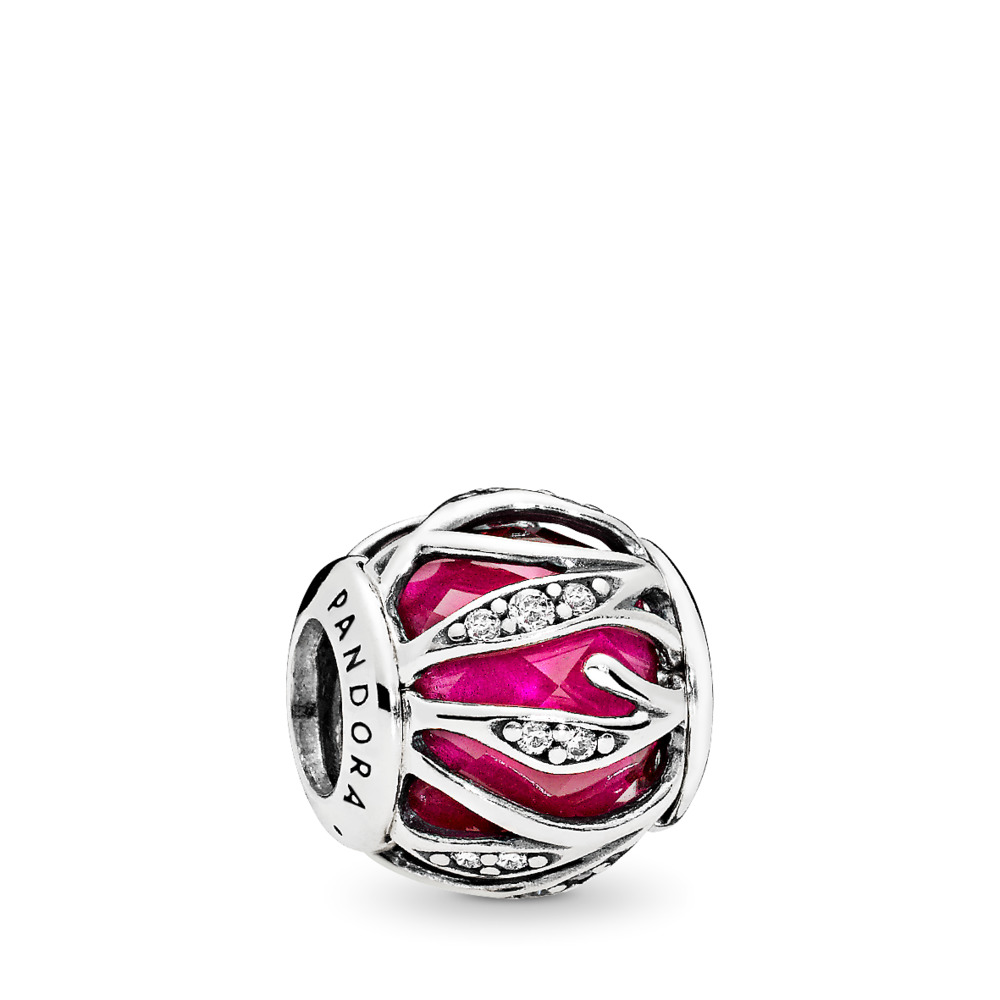 Nature's Radiance Charm, Synthetic Ruby & Clear CZ, Sterling silver, Red, Mixed stones - PANDORA - #791969SRU