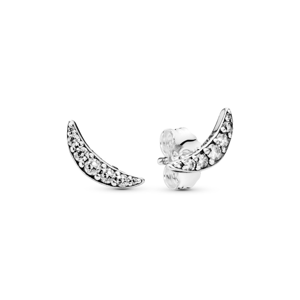 Lunar Light Stud Earrings, Sterling silver, Cubic Zirconia - PANDORA - #297569CZ